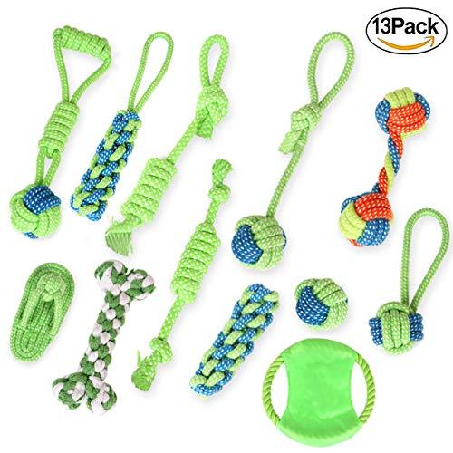 QJKJ Hundespielzeug aus Seil - 13-teiliges Hundespielzeug-Set aus Baumwolle, für kleine und mittelgroße Hunde