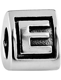 TAOTAOHAS oxidada antiguo sólido plata de ley 925/1000 número alfabeto charm Abalorios perla Abalorios perla [ letra a, ] Coloque la pulsera europea