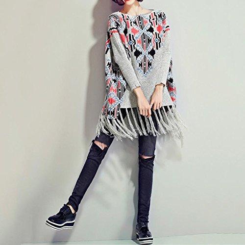 ZQQ Ladies vintage con frange mantello invernale sciolto manica lunga maglione maglioni più scialle di (Stampa Vintage Tunica)