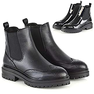 ESSEX GLAM Womens Chelsea Brogue Pull On Ankle Boots Ladies Fashion Shoes Casual Size 3-8 11
