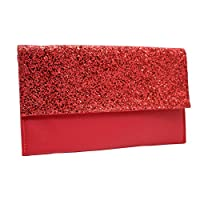 Wiwsi Stylish Lady Leather Party Sequins Glitter Handbag Clutch Bag Wallet Purse(red)