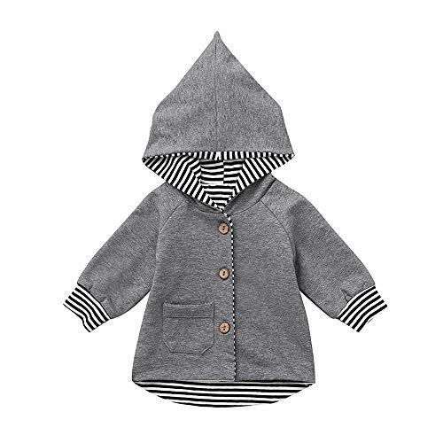 236277ffa522d1 Kinlene Ragazza del Neonato Righe Felpa con Cappuccio Cardigan  Abbigliamento Coat