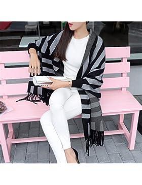 ZHANGYONG Largo Invierno Sweater Mujer Cardigan Knitwear Mantón Flecos Chaqueta Plaid Estudiante Manto Suelto,...