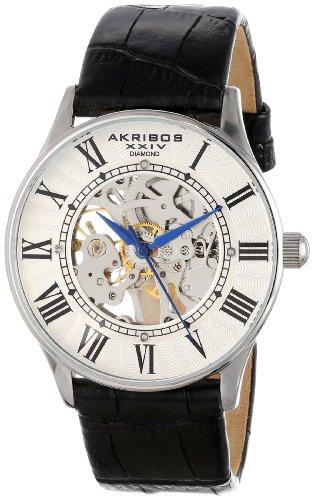 Akribos XXIV Bravura AK499SS - Mouvement Analogique - Affichage Analogique  - Bracelet Cuir et Cadran Blanc 1af9f7b3d690