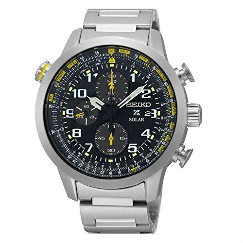 Seiko Solar Chronograph SS, schwarzes Zifferblatt, Herren-Armbanduhr SSC369von Seiko Watches