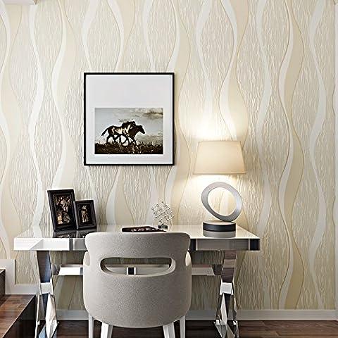 ReYQing Moderne Minimalistische Gebogene Wellenförmige Vertikale Streifen Vlies Tapeten Wohnzimmer Schlafzimmer Esszimmer Tapeten M,Feste Dicke Vliestapete - Beige