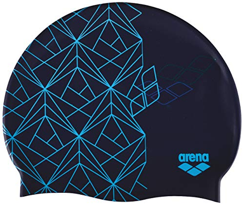 arena Badekappe Print 2, Unisex-Erwachsene, Print 2 Swim Cap, Escher Blue, Escher Blue, Einheitsgröße (Speedo Silikon Swim Cap Frauen)