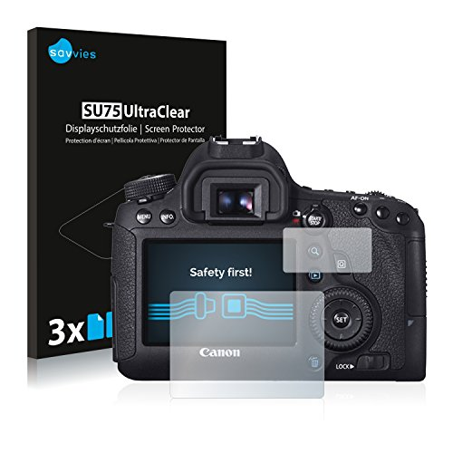 Savvies Schutzfolie kompatibel mit Canon EOS 6D (6 Stück) - ultraklare Displayschutz-Folie