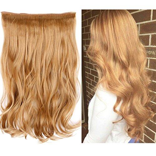 Creamily - extension in capelli sintetici lunghi ondulati/ricci a fascia con filo invisibile, senza clip - 80g, lunghezza 38 cm