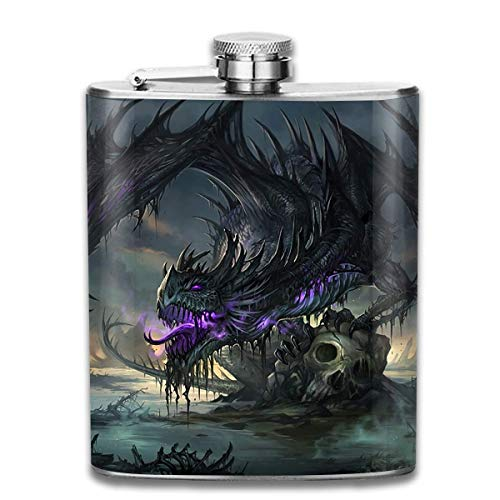 Sdltkhy Fantasy Awesome Dragon 7 Oz Stainless Steel Hip Flask - Dragon Thermo Shirt