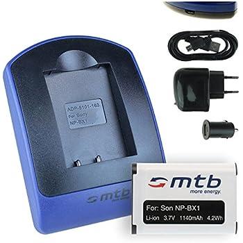 Akku + Ladegerät (Netz+Kfz+USB) für Sony NP-BX1 / HDR-AS50, AS200V, AS300 / HX350, RX100 (I,II,III,VI,V), WX500 / X1000V, X3000... s. Liste