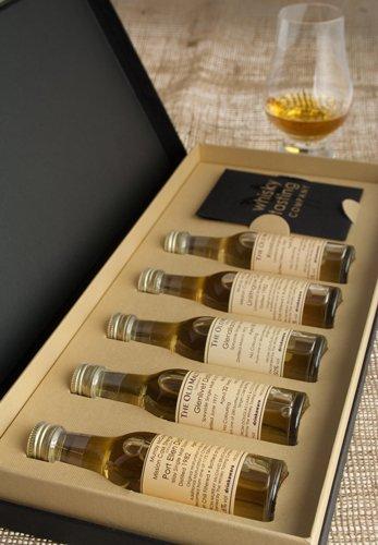 Probierset mit Whiskys aus den Regionen Schottlands - 5 x 30 ml Malt-Whiskys, mit Glencairn Whisky-Probierglas in Präsentationsbox