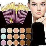 Pure Vie 20 Pcs brochas de maquillaje + 15 Colores Corrector Camuflaje...