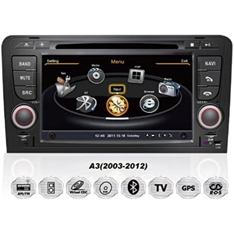 REALMEDIA Audi A3 RNS OEM Einbau Touchscreen Autoradio DVD Player MP3 MPE4 USB SD 3D Navigation GPS TV iPod USB MPEG2 Bluetooth Freisprecheinrichtung +++mit REALMEDIASHOP Garantie+++