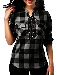 KaloryWee Womens Plaid Cross Bandage Pocket Roll Up Long Sleeve Sexy Deep V Neck Fitted Flannel Shirts Tops Evening Blouses Mothers Day Gifts