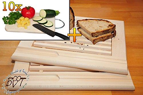 Frühstücks-Servierbrettbrett, Buche - SPÜLMASCHINENFEST '*' , 2 Stück - massive, hochwertige ca. 24 mm starke Picknick Grill-Holzbrett mit Krümelfach natur mit abgerundeten Kanten, Maße viereckig je ca. 36 cm x 29 cm & 10 mal hochwertiges ca. 16 mm starkes Picknick Grill-Holzbrett mit Edelstahlhenkel natur, mit abgerundeten Kanten, Maße viereckig ca. 27 cm x 15 cm als Bruschetta-Servierbrett, Brotzeitbrett, Bayerisches Brotzeitbrettl, NEU Massive Schneidebretter, Frühstücksbretter,