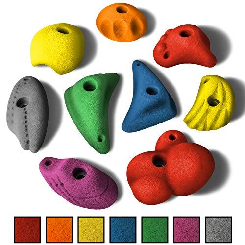 ALPIDEX 9 L/XL Klettergriffe im Set verschieden geformte Griffe und Leisten in vielen Farben, Farbe:Mixed Colour