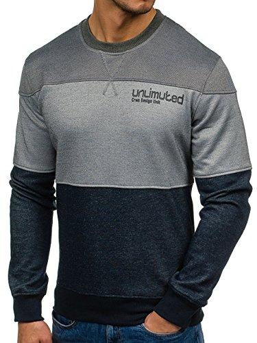 BOLF Herren Pullover Sweatshirt Langarmshirt Sport MIX Anthrazit-Grau_3668