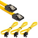 Poppstar 3x S-ATA 3 HDD SSD Datenkabel (0,5 m, 2x Stecker gerade) (bis zu 6 Gbit/s), Sata Kabel für DVD, BlueRay, Festplatte, Motherboard, PC Case Modding uvm., gelb