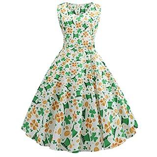 Moonuy_ St. Patrick's Day Women's Shamrock Evening Print Party Prom Swing Dress V-Neck Clover Stitching Sleeveless Fashion Temperament Elegant Skirt Round Neck Vest(Green,S)