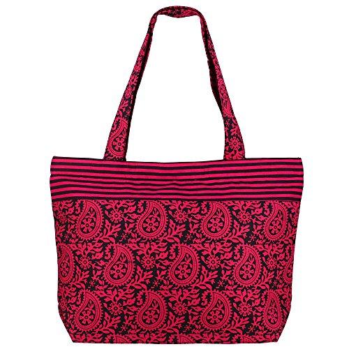 ShalinIndia Multipurpose sac noir rose - Coton Sac fourre-tout avec fermeture à glissière et poignées doubles