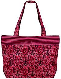 Compras negro rosa bolso multiusos - Algodón Bolsa de tela con cierre de cremallera y dos asas