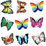 10 mariposas decorativas XINING con luces LED, coloridas en dise?o 3D pegatinas, regalo para bebés o ni?os como lámpara de noche, la decoración del hogar, dormitorio
