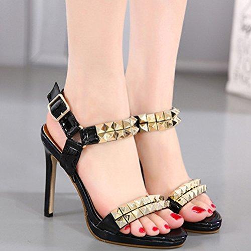 Oasap Women's Peep Toe Ankle Buckle Rivet Stiletto Sandals Black