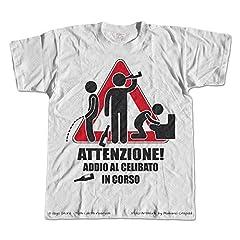 Idea Regalo - Gigio Store Magliette Matrimonio Sposi Attenzione Addio al Celibato in Corso Originale (M)