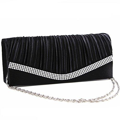 Missfly Damen elegante Abendtasche Frauen Clutch mit vielen funkelnden Strass Steinen und Ketten Schwarz