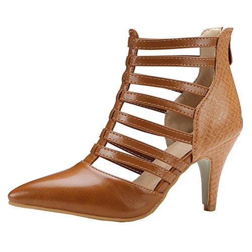 YE Damen Gladiator Pumps Stiletto Spitze High Heels mit Reißverschluss 8cm Absatz Schuhe