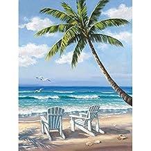 Diy 5d pintura diamante por número kit, taladro completo hermoso paisaje de playa bordado punto