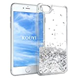 KOUYI iPhone 6S/6 Plus Hülle Glitzer, Luxus Fließen Flüssig Glitzer 3D Bling Dynamisch Silikon Flexible TPU Kreativ Shiny Glitter Cover Beschützer für Apple iPhone 6S Plus/iPhone 6 Plus (Silber)