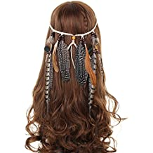 AWAYTR Bohémien Paon Hippie Bandeau plume - AWAYTR Femmes / Filles Flocage Perles Tisser Bandeau Indien Originaire de Corde à cheveux Headpiece Headpiece