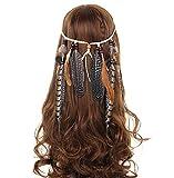 AWAYTR Hippie Feder Beflockung Perlen Weben Stirnband Quaste Beige Kopfschmuck Haarband