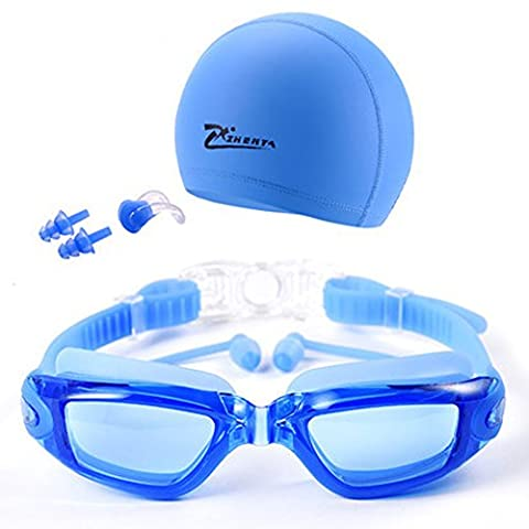 Mirrored Swimming Goggles No Leaking Anti Fog UV Protection Triathlon Swim Goggles with Free Protection Transparent Blue
