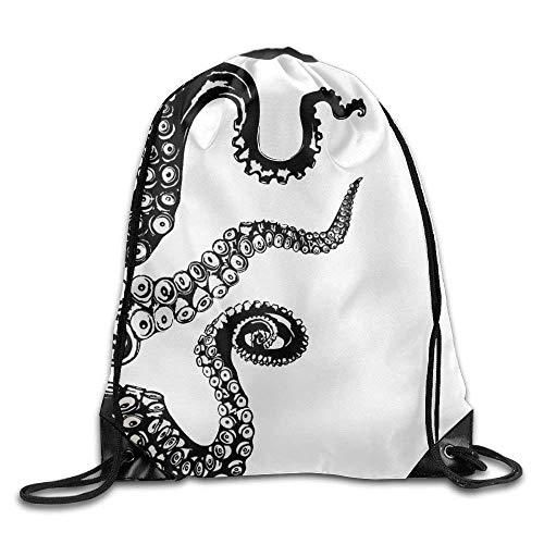 FTKLSS Lightweight Foldable Large Capacity Kraken Octopus Tentacle Drawstring Backpack Rucksack Shoulder Bags Training Gym Sack for Man and Women