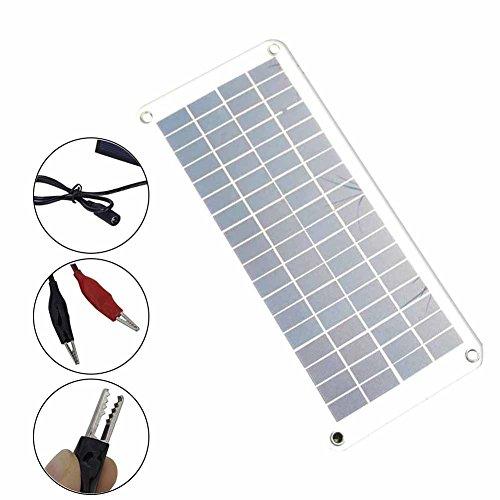Características: Buena calidad, portátil y ligero. Larga vida útil. Fácil de usar. Semiflexible. Especificaciones: Material: paneles solares de polietileno de grado A. Potencia: 20 W. Voltaje de funcionamiento: 12 V. Corriente: 0-583 mAh. Voltaje: 5 ...