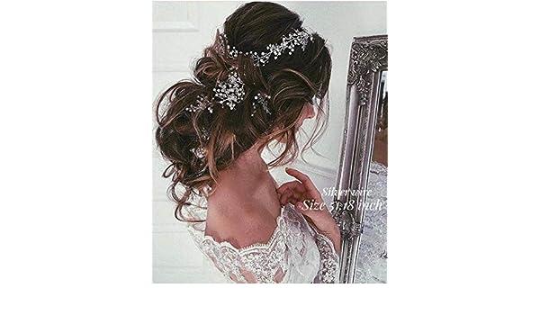 Deniferymakeup 6,6 Zoll Brauthaar Weinrebe lange Haare Hochzeit Haar Weinrebe Blumen Kristall und Perlen Stirnband Brautschmuck Hochzeit Kopfschmuck