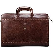 Maxwell Scott® - Cartella porta documenti A4, in pelle italiana, di lusso (Barolo)