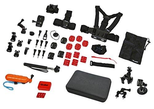 Rollei Actioncam Zubehör Set Sport XL - 47-teiliges Zubehör Set inkl. Brustgurt, Selfie Stick und Kopfband, kompatibel mit allen Rollei und GoPro Actioncams