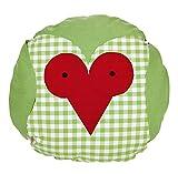 Sonderpreis Valerie Eule Wende Kissen Rundkissen ca. 40x40 cm  kuschelig gefüllt Farbe (Grün Rose)