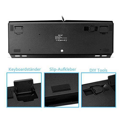 Mechanische tastatur, MECO Gaming Tastatur Key-Click Tasten, RGB, Ergonomischen Design, QWERTZ-Layout, 100% Wasserdicht, 105 Tasten Anti-Ghosting, Macro Recorder Mechaniche Tastatur - 4