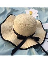 EQLEF® color sólido para rizar el sombrero sombreros de playa sombrero de paja del verano plegable de sol de color caqui para las niñas