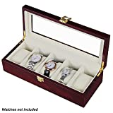 #5: Wooden 5 Slots Wrist Watch Storage Box Display Case Organizer with Cherry Finish and Glass Window ( 26 X 12 X 9 CM) by Kurtzy