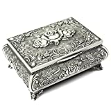 H&S® Metal Antique Ring Necklace Jewellery Trinket Display Storage Vintage Box Case - 3 Rose Top