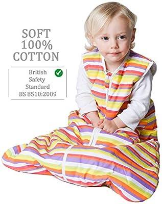 Saco de dormir para bebés Snoozebag, 100% algodón, unisex, con rayas multicolores, de 2,5tog