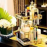 Dawoo Makeop Organizzatore Antique Controstro Cassetta di accumulo Cosmetico Specchio di vetro Beauty Display, Gold Spin Large Capacity Holder per Brushes Lipsticks