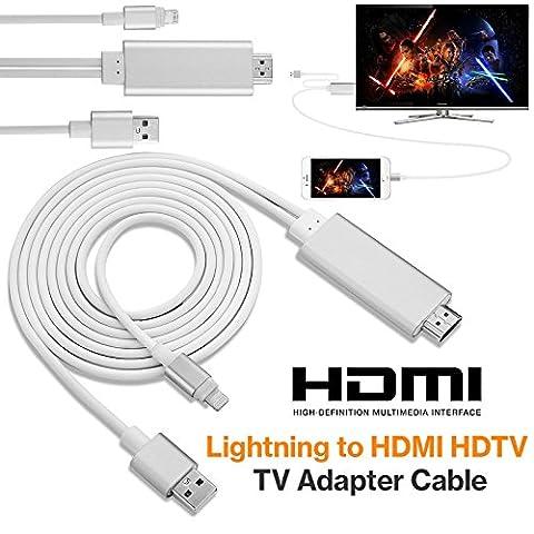 Mycs NEUF 8broches 2m Apple Lightning vers HDMI HDTV AV Adaptateur de câble pour iPhone 66S 5S 5