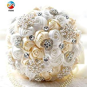 Skykaylen Broche Nupcial de Seda Perla Nupcial Flor Nupcial Ramo de Novia Nupcial Artificial